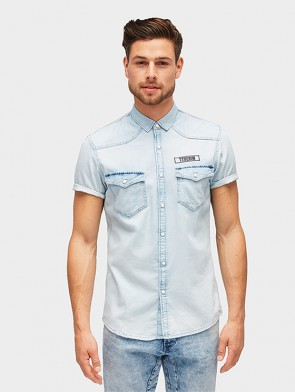 TOM TAILOR DENIM MALE CAMICIA 1/2 MANICA DENIMSLAVATO CON AUTOMATICI