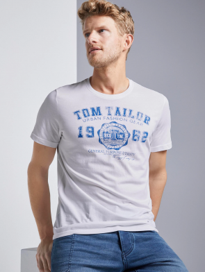 TOM TAILOR CASUAL MAN T-SHIRT CON STAMPA (BIANCO)
