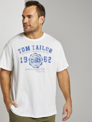 TOM TAILOR MAN PLUS T-SHIRT BIANCA CON LOGO