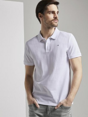 TOM TAILOR CASUAL MAN POLO MANICA CORTA IN PIQUE BIANCA