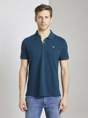 TOM TAILOR CASUAL MAN POLO VERDE CON CONTRASTIGIALLI