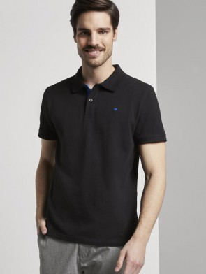 TOM TAILOR CASUAL MAN POLO MANICA CORTA IN PIQUE NERA