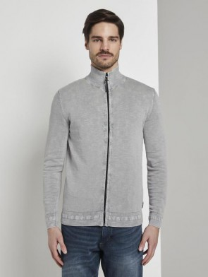 TOM TAILOR CASUAL MAN CARDIGAN ZIP STONE WASH GRIGIO CHIARO