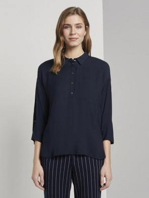 TOM TAILOR DENIM FEMALE CAMICIA A POLO OVERSIDE FLUIDA