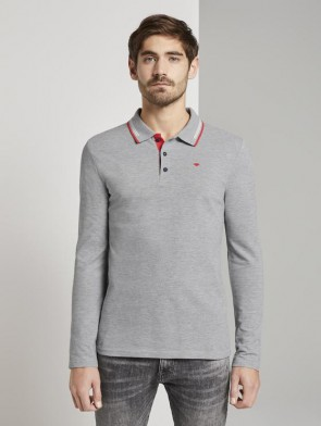 TOM TAILOR CASUAL MAN POLO MANICA LUNGA GRIGIOMELANGE IN PIQUE'