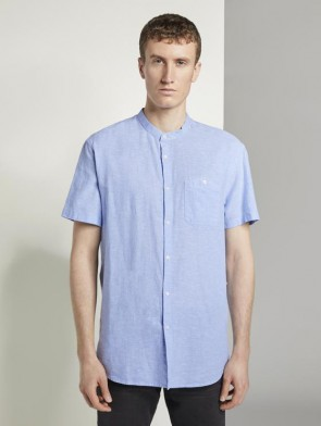 TOM TAILOR DENIM MALE CAMICIA MANICHE CORTE COLLO ALLA COREANA MIX LINO