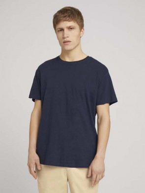 TOM TAILOR DENIM MALE T-SHIRT COTONE E LINO BLU