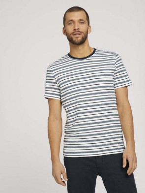TOM TAILOR CASUAL MAN T-SHIRT MANICHE CORTE A RIGHE BLU