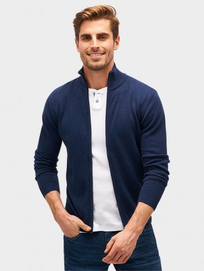 TOM TAILOR CASUAL MAN CARDIGAN ZIPPATO COTONE E CASHMERE